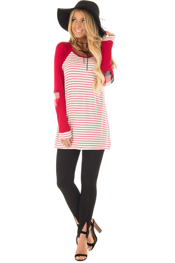 Deep Red Striped Raglan Shirt with Plaid Heart Elbow Patches front full body