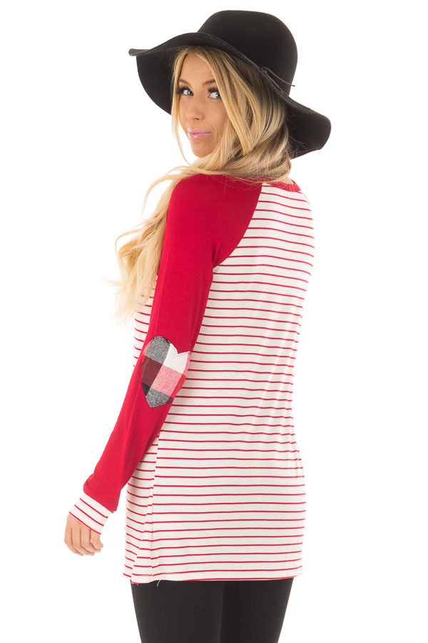 Deep Red Striped Raglan Shirt with Plaid Heart Elbow Patches over the shoulder closeup
