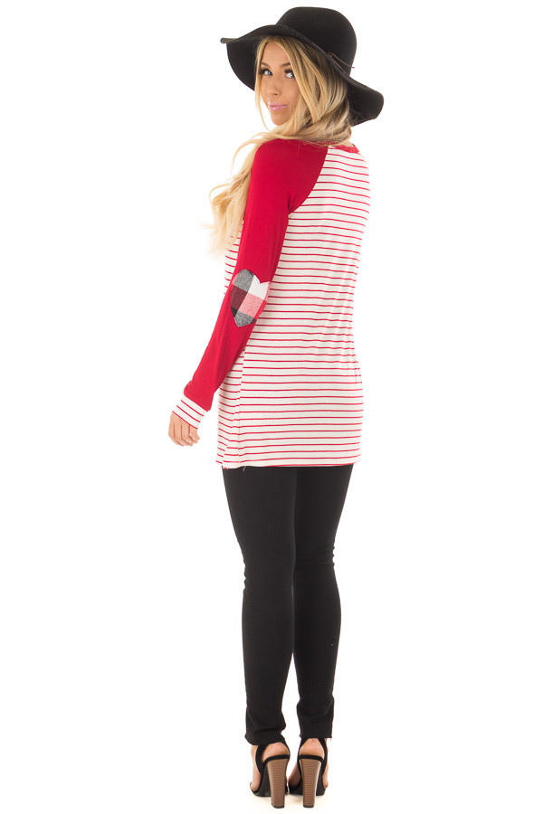 Deep Red Striped Raglan Shirt with Plaid Heart Elbow Patches over the shoulder full body