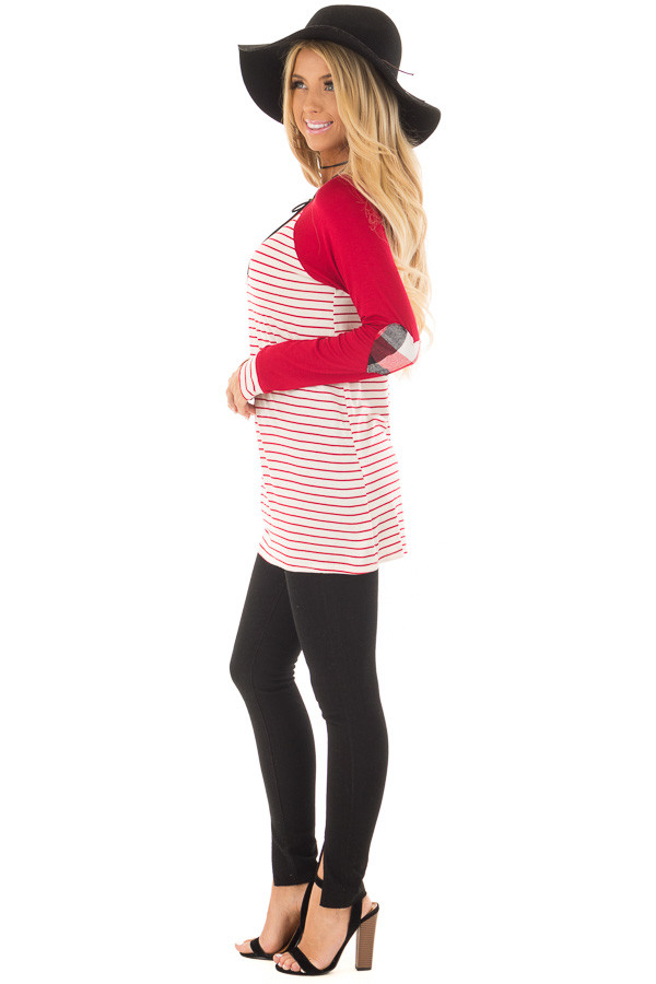 Deep Red Striped Raglan Shirt with Plaid Heart Elbow Patches side full body