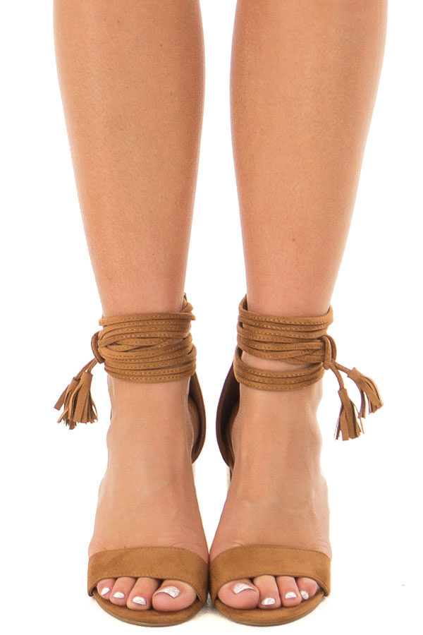 Tan High Heeled Sandal with Strappy Ankle Details front