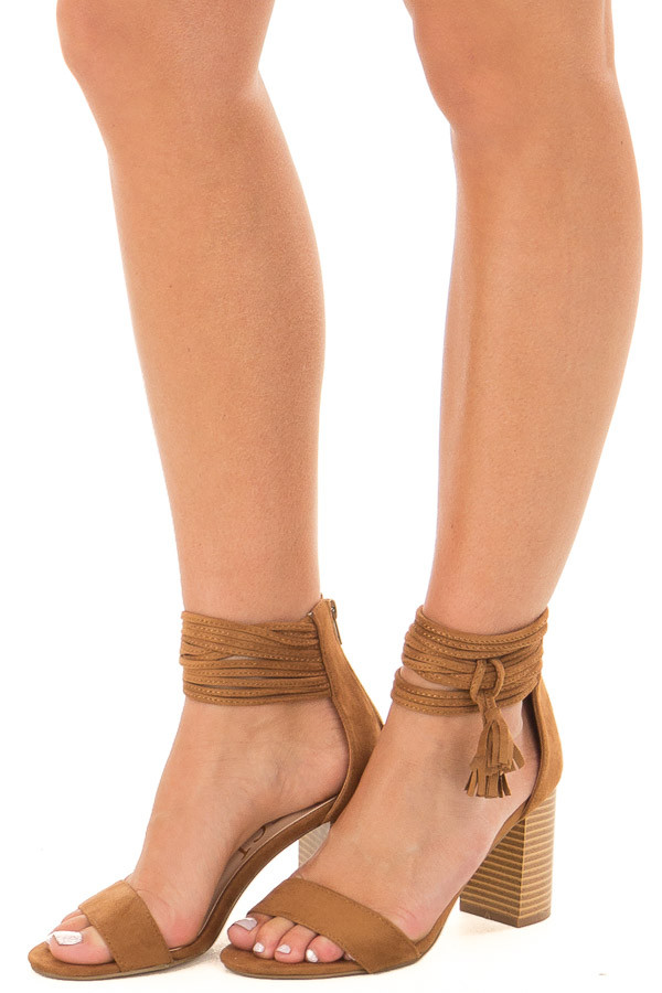 Tan High Heeled Sandal with Strappy Ankle Details front side