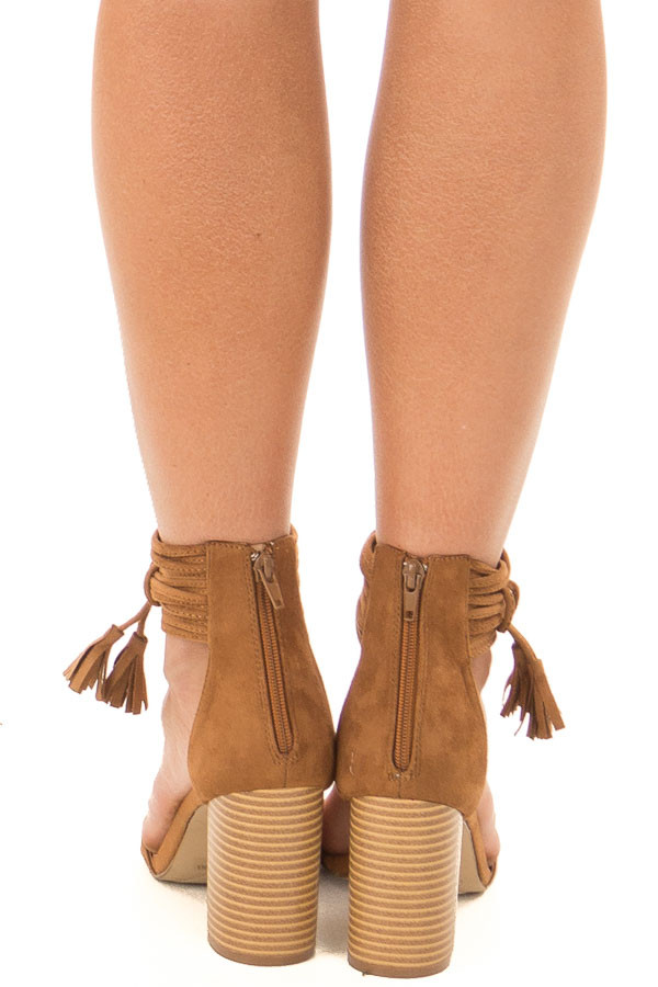 Tan High Heeled Sandal with Strappy Ankle Details back