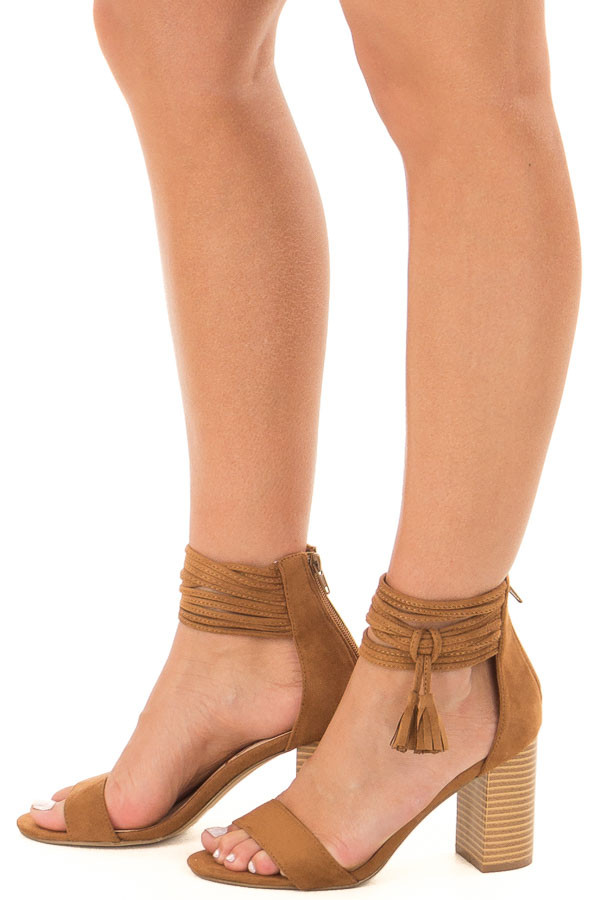 Tan High Heeled Sandal with Strappy Ankle Details side