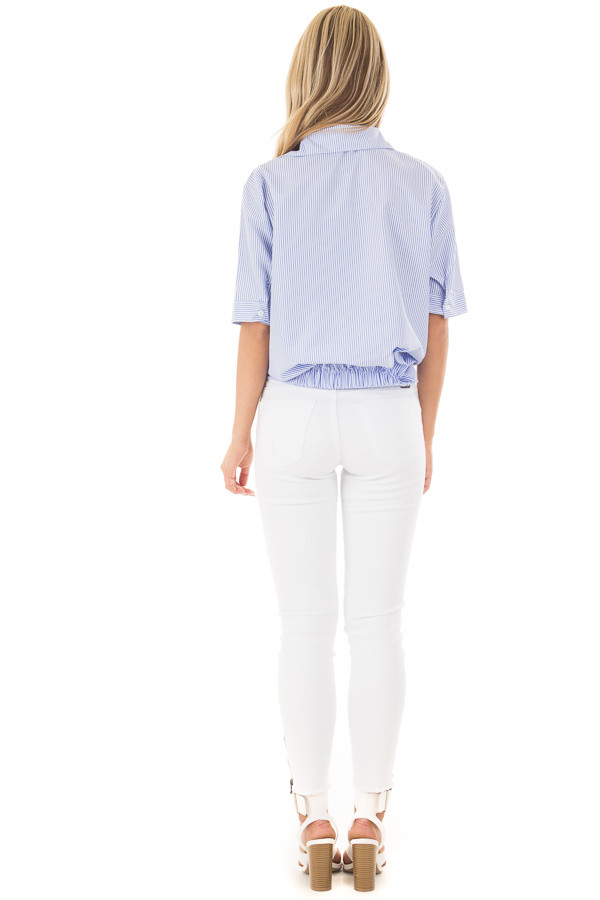 White and Sky Blue Striped Button Up Top with Front Twist back full body