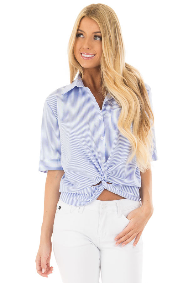 White and Sky Blue Striped Button Up Top with Front Twist front closeup