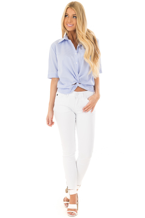 White and Sky Blue Striped Button Up Top with Front Twist front full body