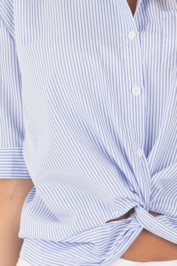 White and Sky Blue Striped Button Up Top with Front Twist front detail