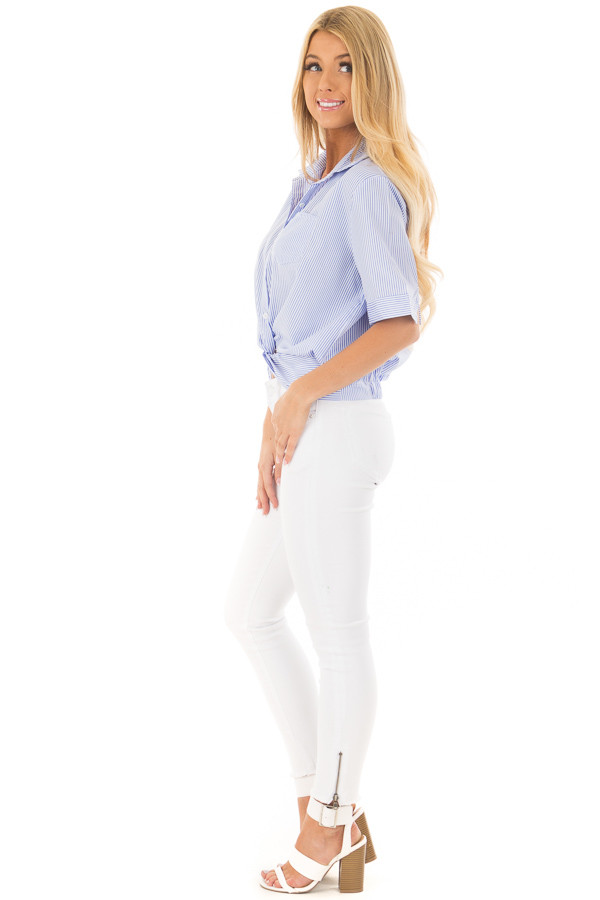 White and Sky Blue Striped Button Up Top with Front Twist side full body