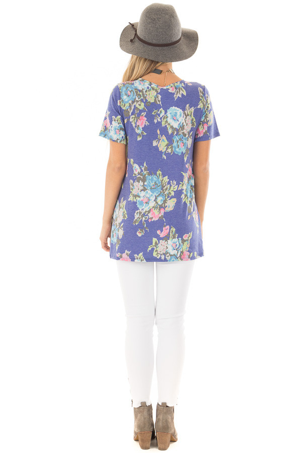 Royal Blue Floral Print V Neck Top with Side Slits back full body