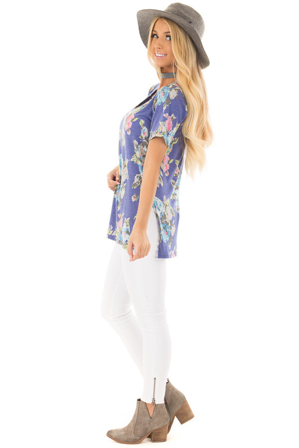 Royal Blue Floral Print V Neck Top with Side Slits side full body