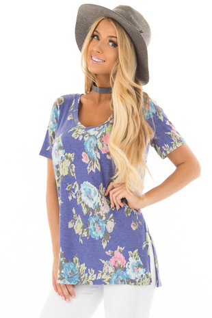 Royal Blue Floral Print V Neck Top with Side Slits front closeup