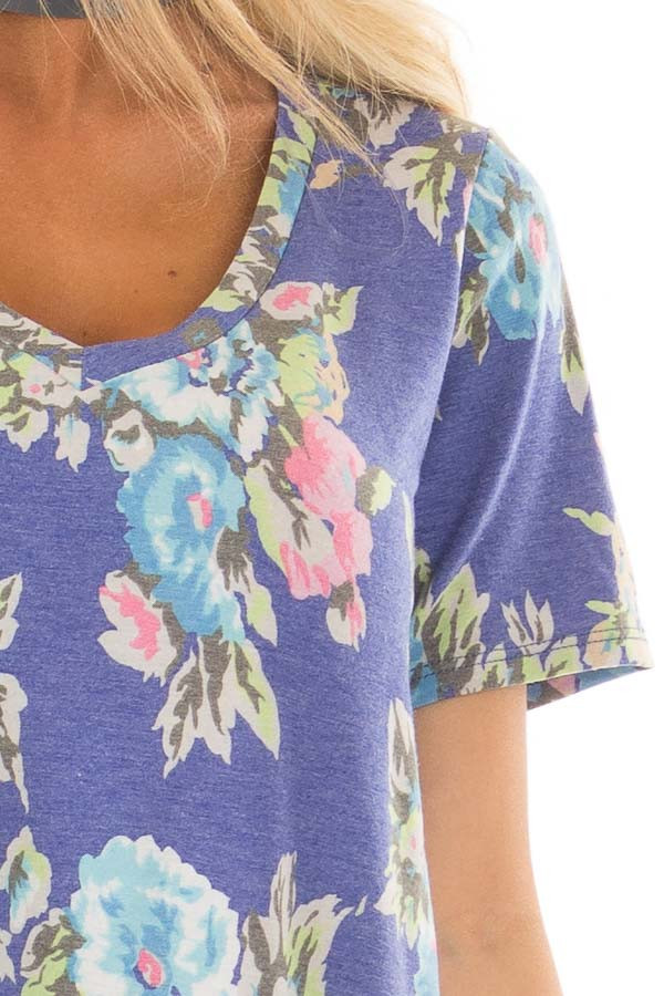 Royal Blue Floral Print V Neck Top with Side Slits front detail