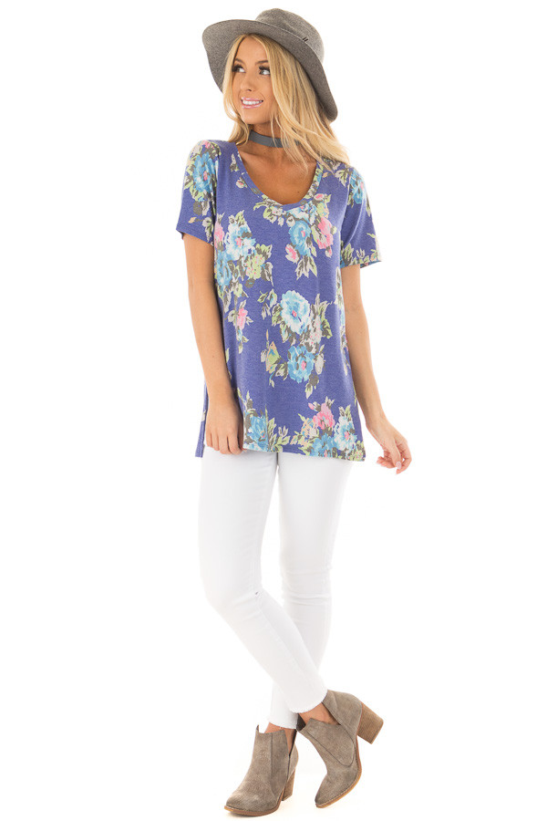 Royal Blue Floral Print V Neck Top with Side Slits front full body