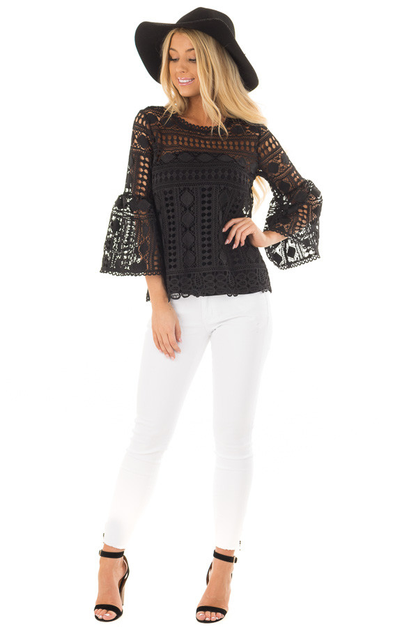 Black Sheer Lace Bell Sleeve Top front full body