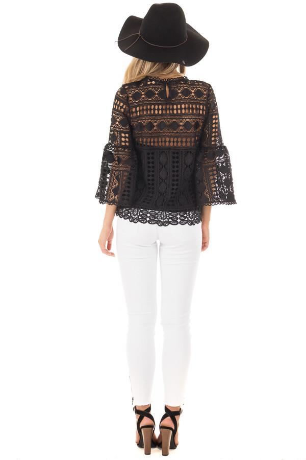Black Sheer Lace Bell Sleeve Top back full body