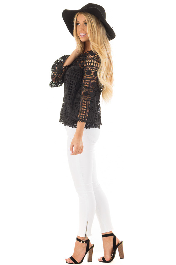 Black Sheer Lace Bell Sleeve Top side full body