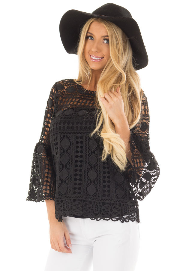 Black Sheer Lace Bell Sleeve Top front closeup