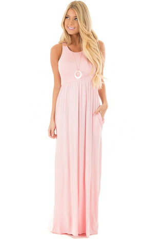Petal Pink Racerback Tank Maxi Dress with Pockets front full body