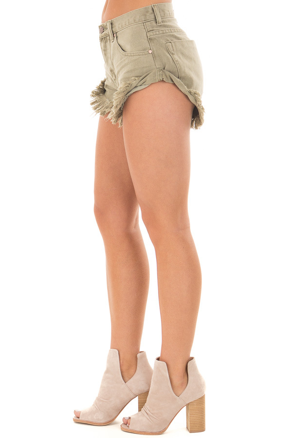 Olive Shorts with Frayed Detail side view