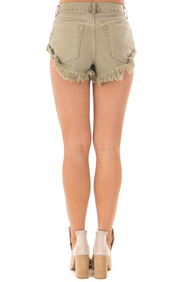 Olive Shorts with Frayed Detail back view