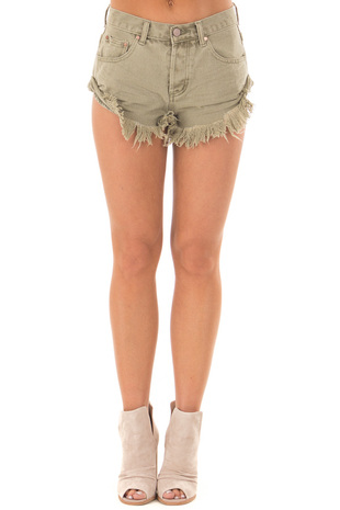 Olive Shorts with Frayed Detail front view