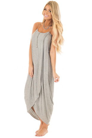 Heather Grey Wrap High Low Midi Dress front full body