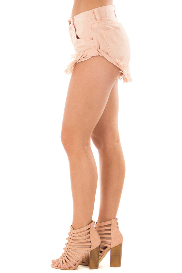 Peach Shorts with Frayed Detail side view