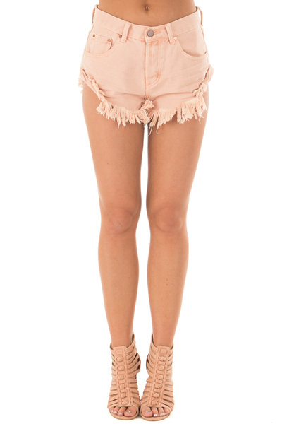 Peach Shorts with Frayed Detail front view