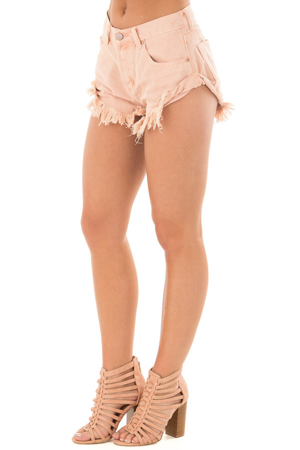 Peach Shorts with Frayed Detail front side view