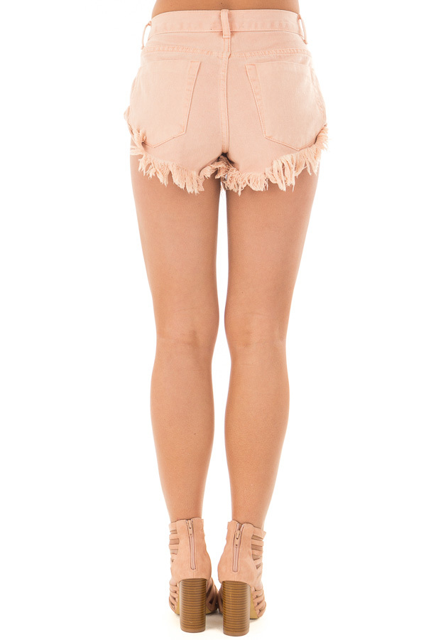 Peach Shorts with Frayed Detail back view