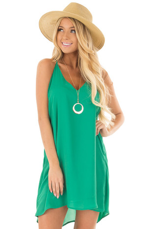 Kelly Green Chiffon Dress with Y Strap Draped Back front closeup