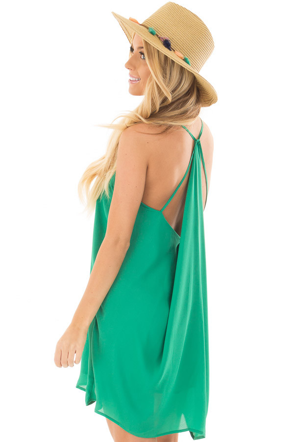 Kelly Green Chiffon Dress with Y Strap Draped Back over the shoulder closeup