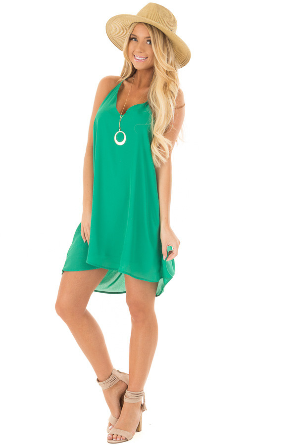 Kelly Green Chiffon Dress with Y Strap Draped Back front full body