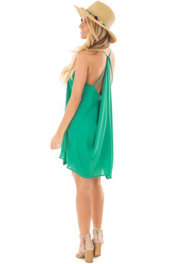 Kelly Green Chiffon Dress with Y Strap Draped Back over the shoulder full body