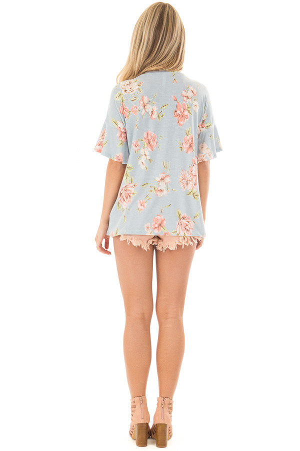 Sky Blue Floral Print Tee Shirt with Bell Sleeves back full body