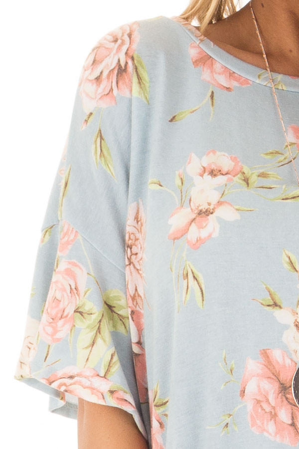 Sky Blue Floral Print Tee Shirt with Bell Sleeves front detail