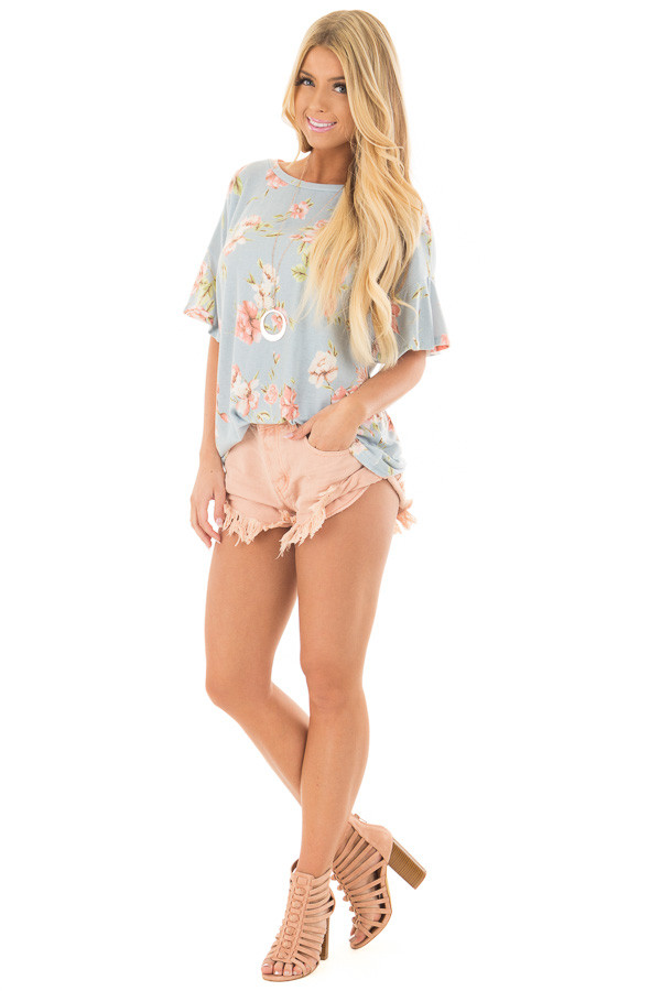 Sky Blue Floral Print Tee Shirt with Bell Sleeves front full body