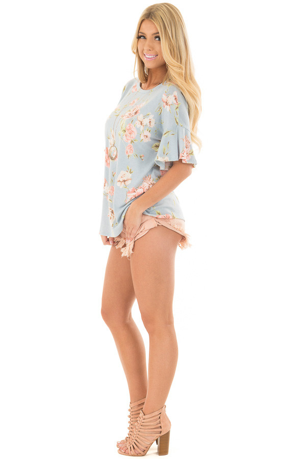 Sky Blue Floral Print Tee Shirt with Bell Sleeves side full body