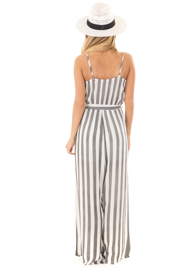 Black and White Striped Jumpsuit with Waist Tie back full body