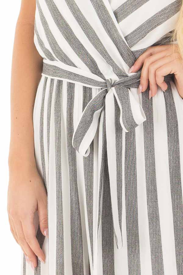 Black and White Striped Jumpsuit with Waist Tie front detail
