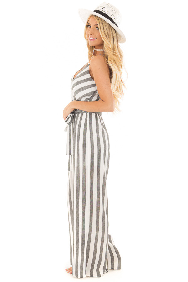 Black and White Striped Jumpsuit with Waist Tie side full body