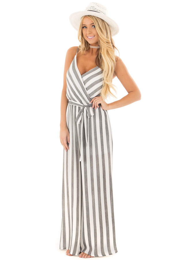 Black and White Striped Jumpsuit with Waist Tie front full body