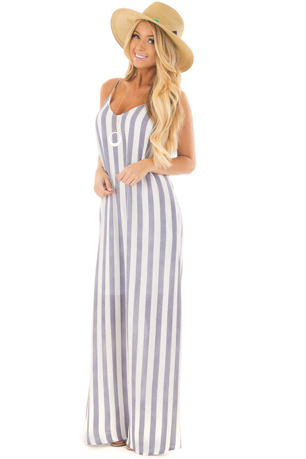 Denim Blue and White V Neck Maxi Dress with Pockets front full body