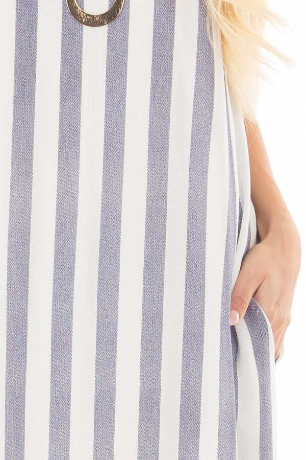 Denim Blue and White V Neck Maxi Dress with Pockets front detail