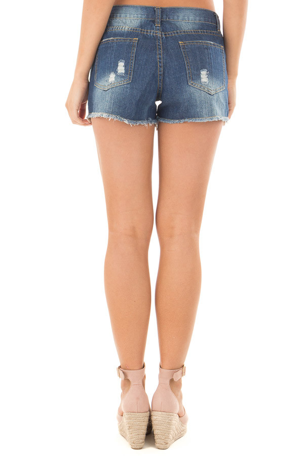 Denim Distressed Shorts with Lace Peek a Boo back view