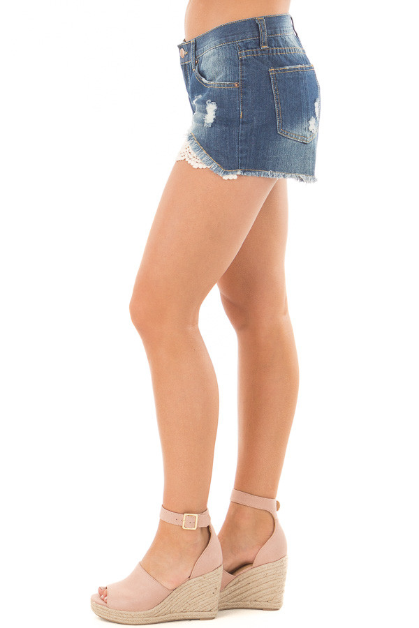 Denim Distressed Shorts with Lace Peek a Boo side view