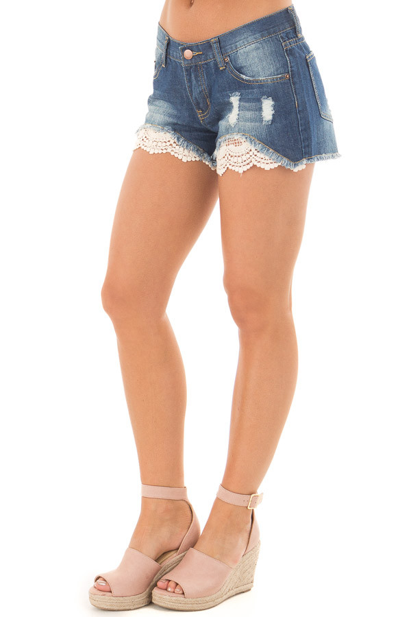 Denim Distressed Shorts with Lace Peek a Boo front side view
