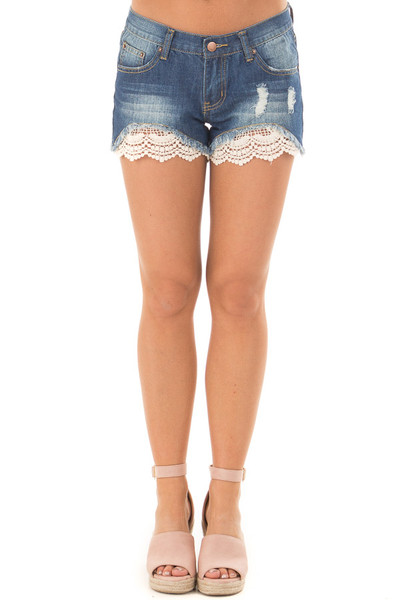 Denim Distressed Shorts with Lace Peek a Boo front view