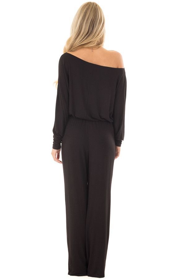 Black Off the Shoulder Jumpsuit with Waist Tie back full body